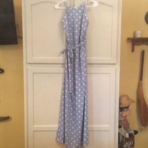 Ann Taylor Lt. Blue & White Polka Dot Long Dress 6
